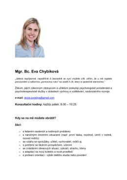 Školní psycholog Eva Chybíková
