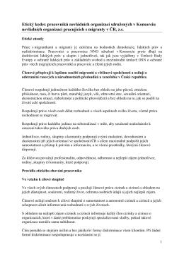 Etický kodex - Konsorcium nevládních organizací pracujících s