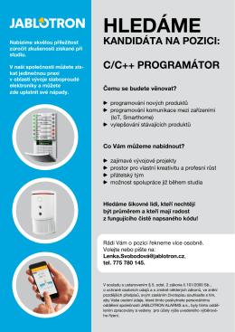 Jablotron Alarms a.s. / Programátor C/C++