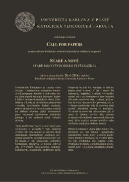 Call for paper - Katolická teologická fakulta
