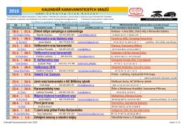 Kalendář karavanistických akcí na rok 2016