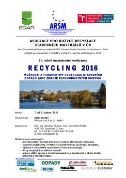 Pozvánka s programem na konferenci RECYCLING 2016
