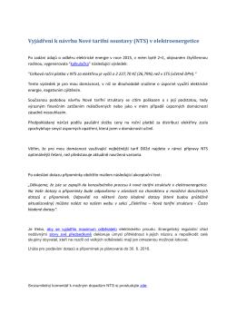 Vyjádření k návrhu Nové tarifní soustavy (NTS) v elektroenergetice
