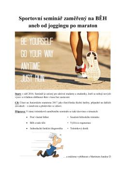 Sportovní seminář zaměřený na BĚH aneb od joggingu po