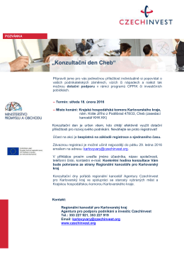 pozvánka - Krajská hospodářská komora Karlovarského kraje