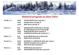 Kulturní program na únor 2016