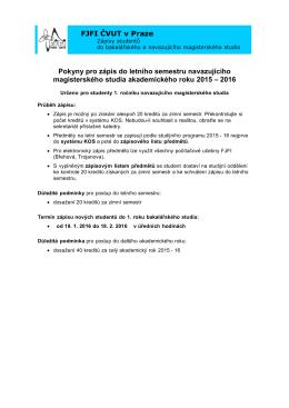 FJFI ČVUT v Praze Pokyny pro zápis do letního semestru