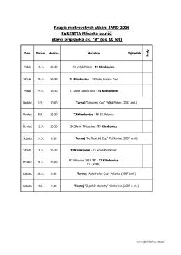 Rozpis mistrovských utkání PŘÍPRAVKY - JARO 2016