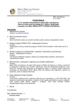Program 12. zasedání s anotacemi