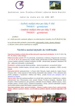 Představení školy - Gymnázium Jana Pivečky Slavičín