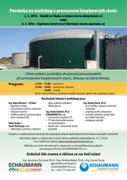 Pozvánka na workshop o provozování bioplynových