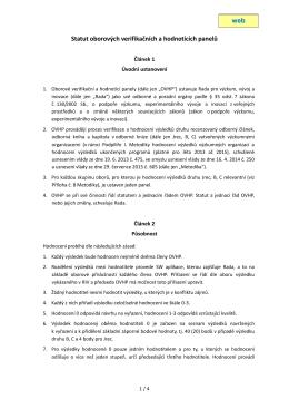 Statut oborových verifikačních a hodnotících panelů