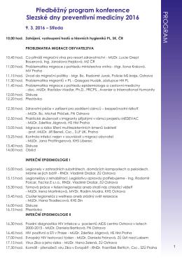 Předběžný program konference Slezské dny preventivní medicíny