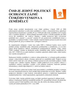 čssd je jediný politický ochránce zájmů českého venkova a zemědělců