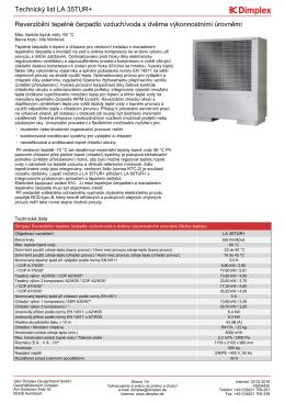 Technický list Reverzibilní tepelné čerpadlo vzduch/voda s dvěma