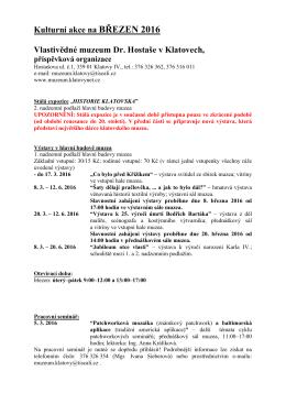 Program kulturních akcí Muzea Klatovy