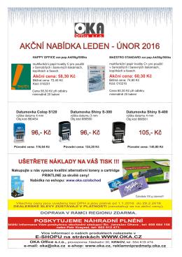 akční nabídka leden - únor 2016