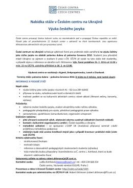 Nabídka stáže v Českém centru na Ukrajině Výuka českého