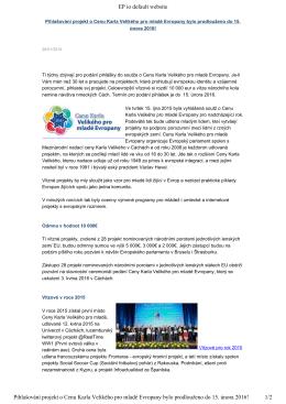 Přihlašování projektů o Cenu Karla Velikého pro mladé Evropany