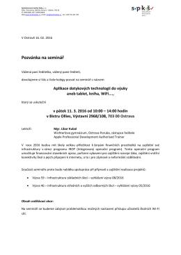 Pozvanka ICT - Společnost pro kvalitu školy