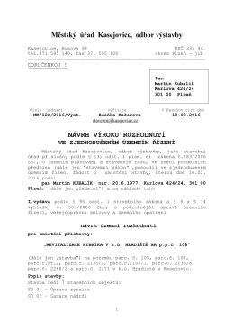 Městský úřad Kasejovice, odbor výstavby NÁVRH VÝROKU