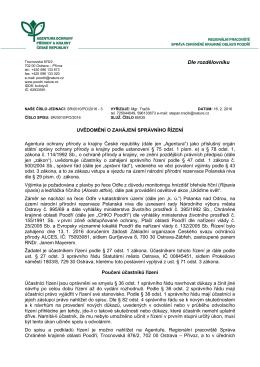 Zahájení správního řízení SR/0010/PO/2016 výjimky