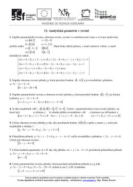 DUM MO 12 Analytická geometrie