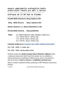 Rozpis odpoledních ordinačních hodin PLDD - únor 2016