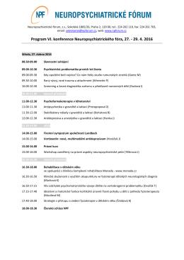 Program VI. konference Neuropsychiatrického fóra, 27.