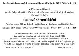 sborové shromáždění - Farní sbor Českobratrské církve evangelické