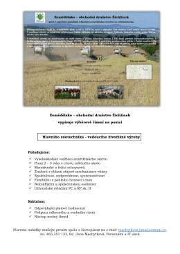 Zemědělsko – obchodní družstvo Žichlínek vypisuje výběrové řízení