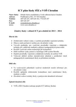 ICT plán - Střední škola zemědělská a Vyšší odborná škola Chrudim