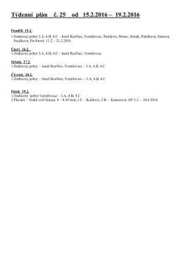 Týdenní plán č. 25 od 15.2.2016