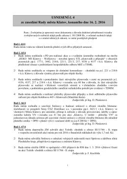 Usnesení z jednání rady města 16. 02. 2016