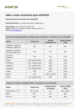 Výběr z ceníku nezáručních oprav ALIGATOR