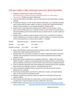 Info pro rodiče a žáky ukončující povinnou školní docházku