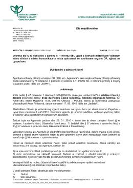 Zahájení správního řízení SR/0022/BE/2016 výjimka
