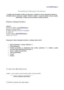 Formulář pro odstoupení od smlouvy - HafHaf