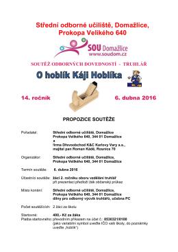 propozice soutěže - Střední odborné učiliště Domažlice