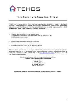 Výběrové řízení na prodej pozemku parc.č. 2470 na ul