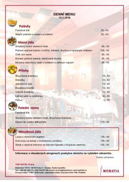 denní menu - Top Hotel Praha