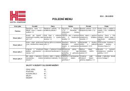 polední menu - Hotel Energie