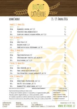 denní menu 15.-19. února 2016