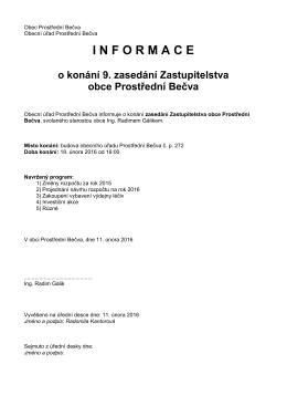 Pozvánka - Prostřední Bečva