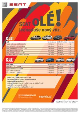 Stáhněte si přehlednou nabídku všech modelů SEAT OLÉ
