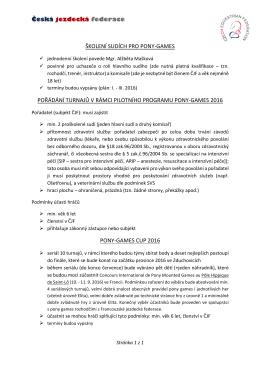 Česká jezdecká federace ŠKOLENÍ SUDÍCH PRO PONY