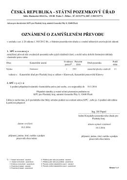 Oznámení o zamýšleném převodu poz. k. ú. Hodousice