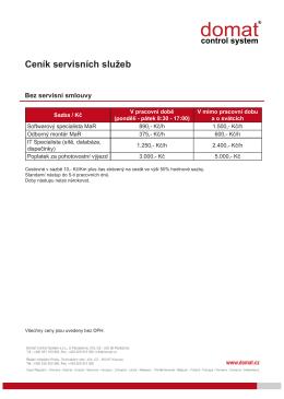 Ceník servisních služeb 2016