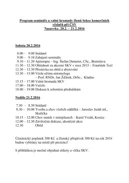 Program semináře a valné hromady členů Sekce komerčních