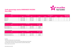 Ceník sponzoringu stanice BARRANDOV MUZIKA